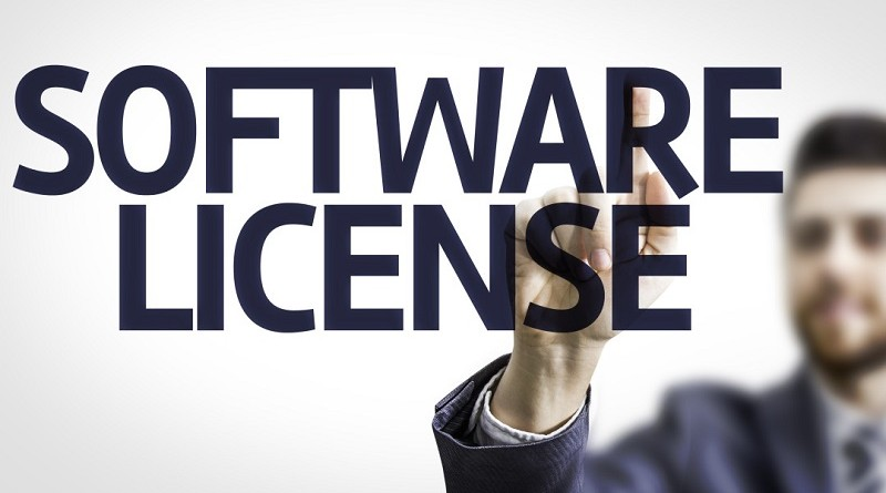 Business man pointing the text: Software License
